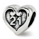 Pandora 21º aniversário do coração Contas Charms