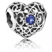 Pandora Assinatura setembro Charms do coração da safira sintética - Sterling Prata setembro Charme Assinatura Coração com Safira sintética