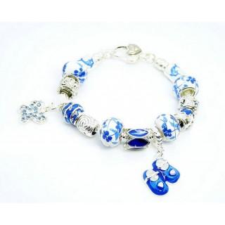 Pandora Azul cristal borboleta e Calçados Encantos Porcelain Contas Prata DIY Pulseira