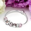 Pandora Borboleta Flor Sterling Prata Esmalte Cubic Zirconia Garden Ladybug SpAneis Rosa Pulseira