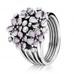 Pandora Cherry Blossom Bouquet com Rosa esmalte empilhável Aneis