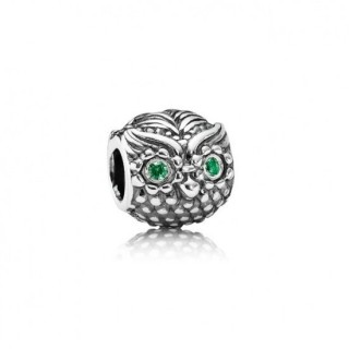 Pandora Com Verde Cubic Zirconia Olhos da coruja Contas