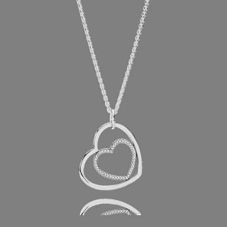 Pandora Coração Para Coração Limpar CZ Pendant Colares