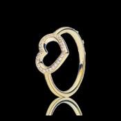 Pandora Coração capturado 14K Dourado Aneis i8