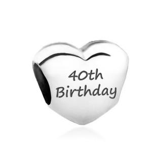 Pandora Coração do amor gravado com  Birthday  Charms
