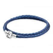 Pandora Couro Sterling Prata trançado básico Pulseira Azul