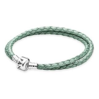 Pandora Couro Sterling Prata trançado básico Pulseira Verde