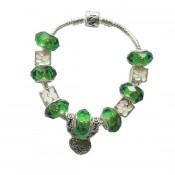 Pandora DIY Pulseira Verde e Branco Cristal Contas e Prata Charms