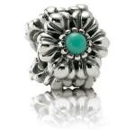 Pandora Dezembro Flores de aniversário Charm - Aniversário aposentado Sterling Prata Flores Contas com turquesa