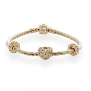 Pandora Dourado Pulseira Com amor e encantos Avaliação