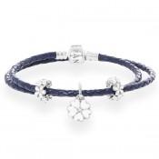 Pandora Floral completa Azul Duplo Couro Pulseira
