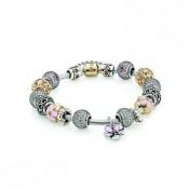 Pandora Flores de cerejeira inspirada Pulseira Prata / encantos Dourado