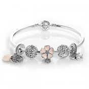 Pandora FlutteAneis borboletas Rosa completa Bangle