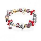 Pandora Goden Vermelho Contas Prata Lovebirds Inspirado Pulseira