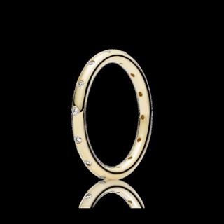 Pandora Gotas empilhável Polido 14K Dourado & CZ Aneis
