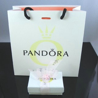 Pandora Joias Fita Rosa Box e sacos de papel