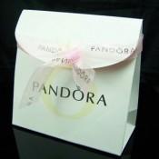 Pandora Joias caixa de papel bolsas e fita Rosa