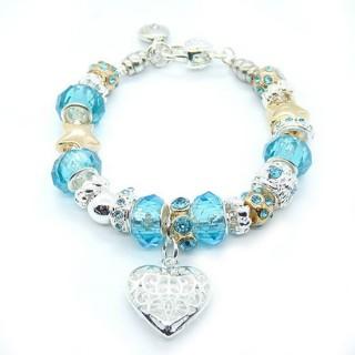 Pandora Prata Coração de cristal DIY Pulseira Azul