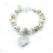 Pandora Prata Coração de cristal DIY Pulseira Branco
