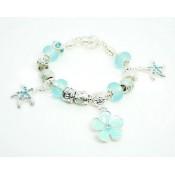 Pandora Prata Cristal Starfish DIY Pulseira Sky Azul