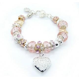 Pandora Prata Cristal encanto do coração DIY Pulseira Rosa
