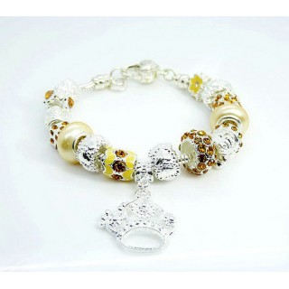 Pandora Prata Crystal Crown DIY Pulseira Amarelo