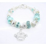 Pandora Prata Crystal Crown DIY Pulseira Azul