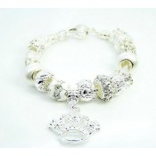 Pandora Prata Crystal Crown DIY Pulseira Prata Charms