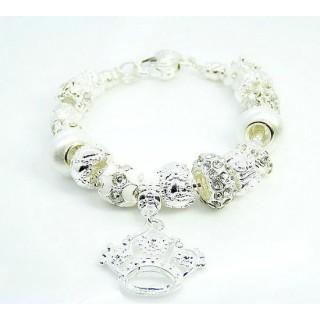 Pandora Prata Crystal Crown DIY Pulseira Prata Charms