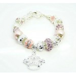 Pandora Prata Crystal Crown DIY Pulseira Rosa