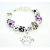 Pandora Prata Crystal Crown DIY Pulseira Roxo