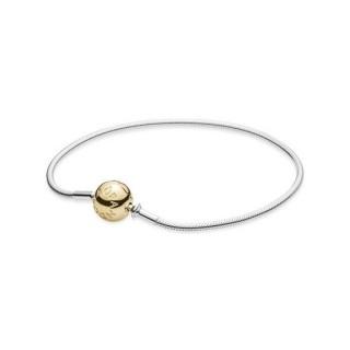 Pandora Prata Pulseira Com Dourado Fecho - Coleção Essence