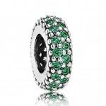 Pandora Prata Verde pavimentam Charms espaçadores Zirconia Cubic