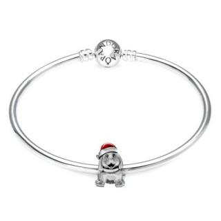 Pandora Prata de Natal do filhote de cachorro de presente Bangle