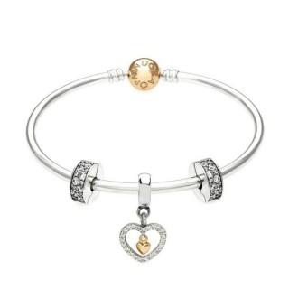 Pandora Prata e 14 ct Dourado Para sempre em meu coração completa do presente Bangle