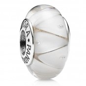 Pandora Prata e Branco Murano vidro Charms Contas