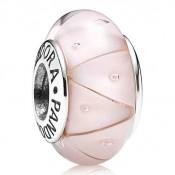 Pandora Prata e Rosa de vidro Murano Charms Contas