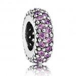 Pandora Prata extravagante Roxo Charms espaçadores Zirconia Cubic