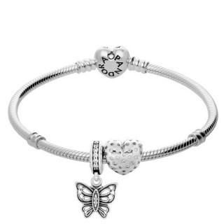 Pandora Pulseira Com Você dá-me borboletas Charms