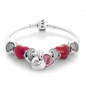 Pandora Pulseira Com batida do meu coração Vermelho Charms