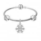 Pandora Pulseira com floco de neve Charms