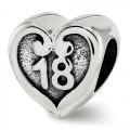 Pandora Reflexões 18 aniversário do coração Charms de Contas