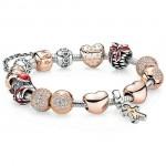 Pandora Rosa Dourado Sterling Prata Esmalte Cubic Zirconia Natal de Santa Pinhas Gingerbread Man Amor Coração Vermelho Pulseira