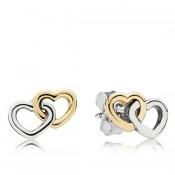 Pandora Sterling Prata & 14K coração a coração Brincos