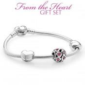Pandora Sterling Prata Cubic Zirconia amor do coração Rosa Pulseira