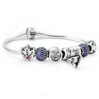 Pandora Sterling Prata Cubic Zirconia boa sorte do disco de hóquei do patim de gelo do floco de neve Canadian Maple Leaf Azul Vermelho Pulseira