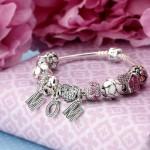 Pandora Sterling Prata Esmalte Cubic Zirconia Família Mother Love Baby Heart Carriage House Urso Rosa Pulseira