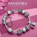 Pandora Sterling Prata Esmalte Cubic Zirconia amor do coração do dia dos namorados Rosa Pulseira