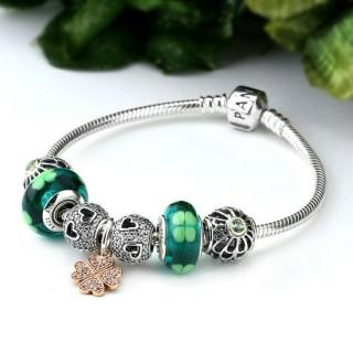 Pandora Sterling Prata Murano Vidro Sorte amor do coração Trevo de 4 folhas do trevo Verde Pulseira