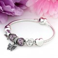 Pandora Sterling Prata Zirconia Cubic Borboleta do amor Coração Amigo Rosa Roxo Pulseira